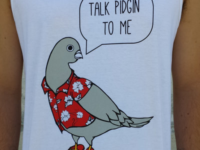 """Talk Pidgin"" Tank (Mens) White main photo"