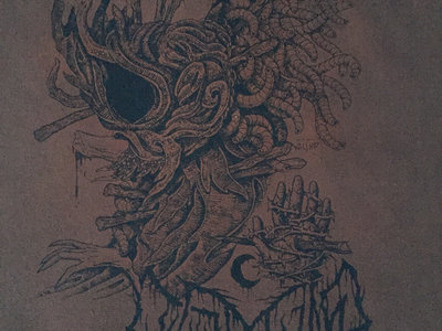 Leviathan / Krieg 19x15 Black Ink on Brown Canvas Back Patch main photo