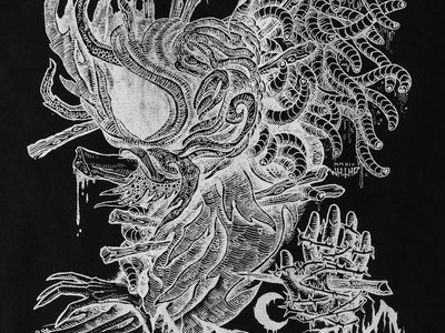 Leviathan / Krieg 19x15 White Ink on Black Canvas Back Patch main photo