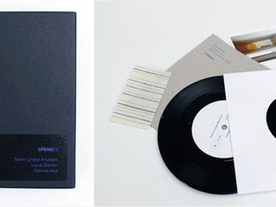 "Box with 7"" vinyl, printed Spring15 Catalog etc. main photo"