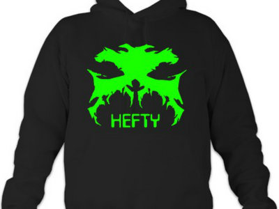 "Black Hoodie With GREEN Hefty Logo and ""HEFTY"" Txt main photo"