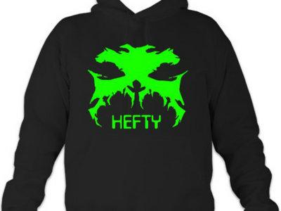 "Black Hoodie With GREEN Hefty Logo and ""HEFTY"" Txt main photo"