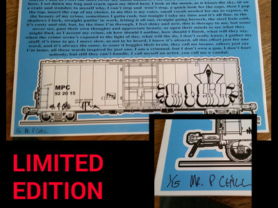 Limited Edition Print - Criminal Lyrics & Artwork - Hand Signed - ONLY 15 MADE! main photo