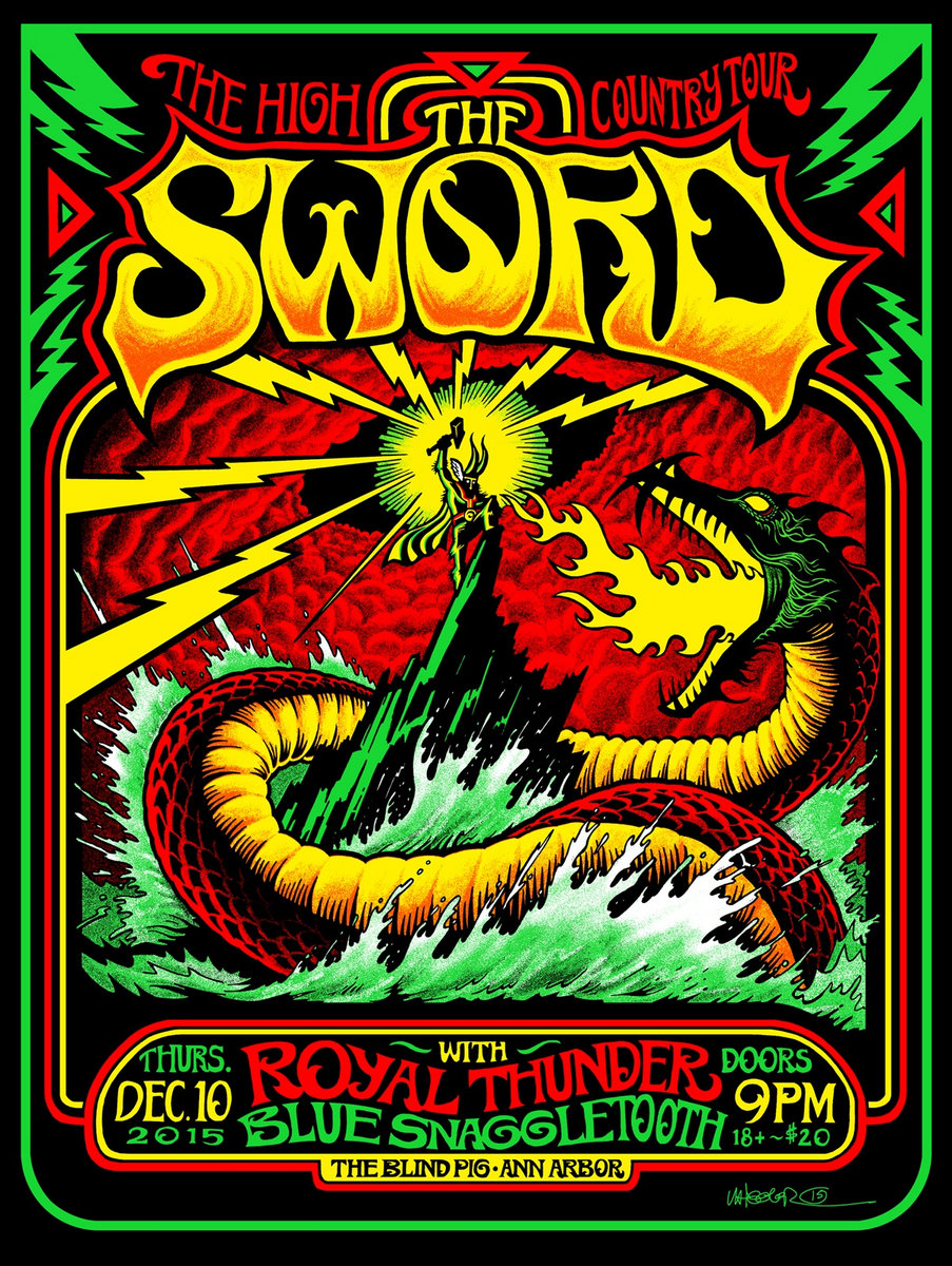 The Sword / Blue Snaggletooth gig poster | Blue Snaggletooth