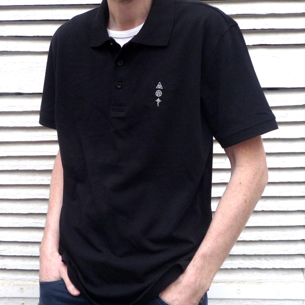 921ea3ebfc72f Rave Or Die - Men Polo - color Black - embroidered Black   White logo main