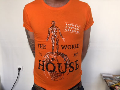 'The world is my house' 'I lumia Mo Kher' T-shirt Orange main photo