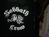 Sabbath Crow werewolf with baby in mouth t-shirt - metallic silver on black photo
