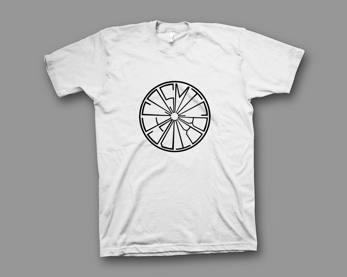 Label logo t shirt white cosmic bridge records for T shirts with logos