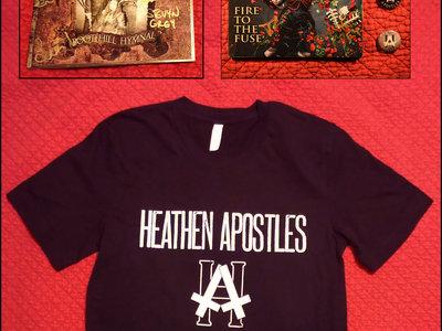Heathen Apostles Logo T Shirt, 2 CDs, 3 Buttons Bundle w/ Free Download main photo