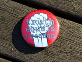 Truth Equals Treason button badge (red with white/grey fist logo) photo