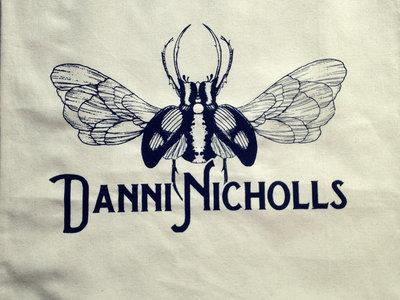 Cream cotton tote bag with bug and name logo main photo