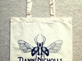 Cream cotton tote bag with bug and name logo photo