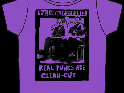 The Wave Pictures 'Real Punks Are Clean Cut' T-shirt, Black Print on Heather Purple main photo