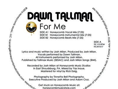 """Dawn Tallman - For Me - 12"""" Vinyl Release main photo"""