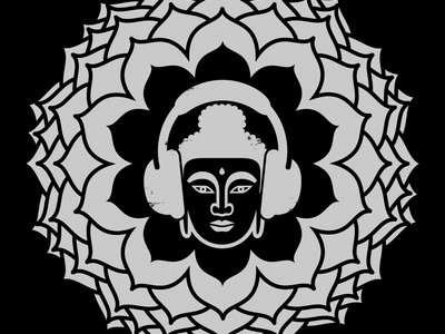 24x24 Buddha with Headphones Poster main photo