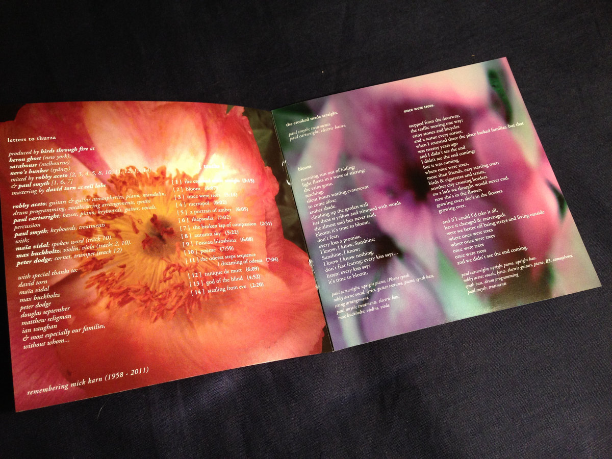 limited edition cd edition of letters to thurza packaged in an attractive gatefold sleeve includes an 8 page booklet with artwork and lyrics