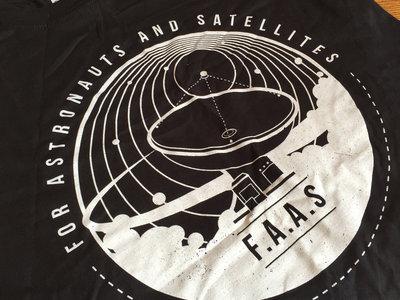 For Astronauts and Satellites Unisex Tshirt (White on Black) main photo
