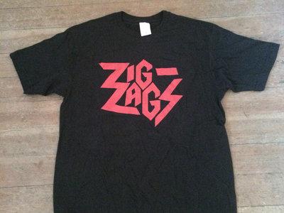 "Zig Zags ""Logo T-shirt"" Red on Black main photo"