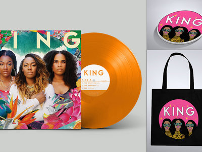 'We Are KING' Limited Edition Orange Vinyl, Tote Bag + Sticker Bundle main photo