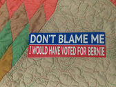 Don't Blame Me, I Would Have Voted For Bernie bumper sticker photo