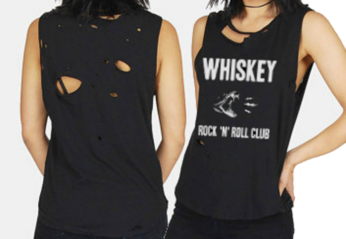 Custom Distressed T Shirt Whiskey Rock N Roll Club Mpls