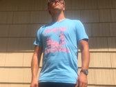Wasteland Warriors T-Shirt (Pink on Blue) photo