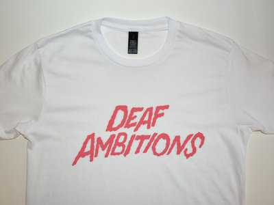 Deaf Ambitions Tee - PINK on WHITE main photo