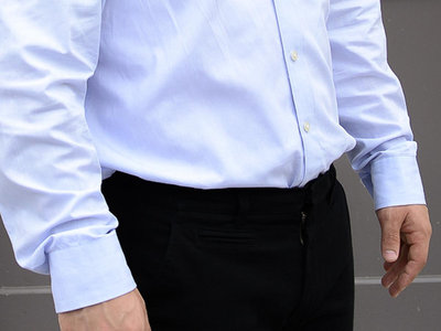 Long sleeve unbranded plain blue business shirt. main photo