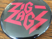 "Zig Zags ""Running Out of Red"" Logo Button photo"
