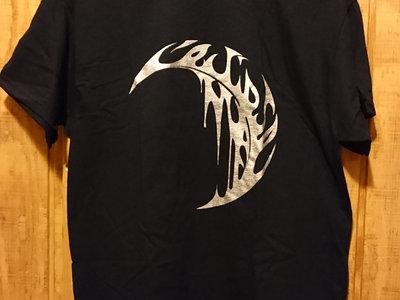 shiny silver logo on black T-shirt main photo