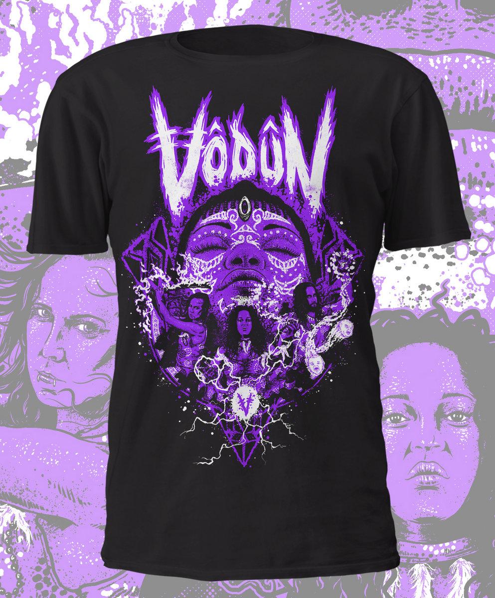 Vodun 'Warriors' Design Shirt - Purple and White on Black