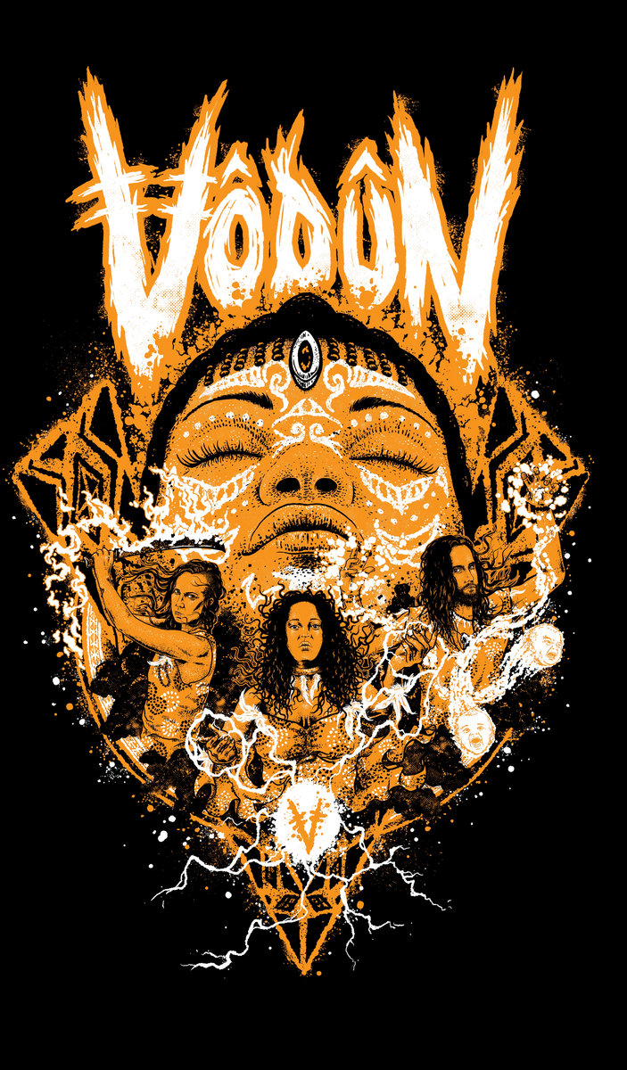 Vodun 'Warriors' Design Shirt - Orange and White on Black
