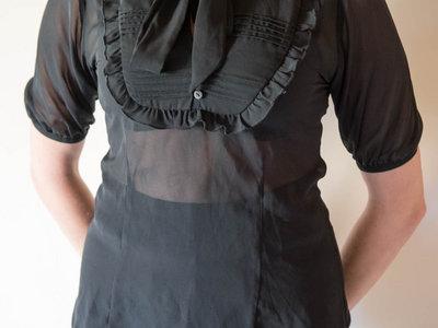 Black chiffon shirt with bow main photo