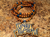 """Blue Stained """"Funky Fresh"""" Wooden Pendent w/ Beaded Necklace photo"""