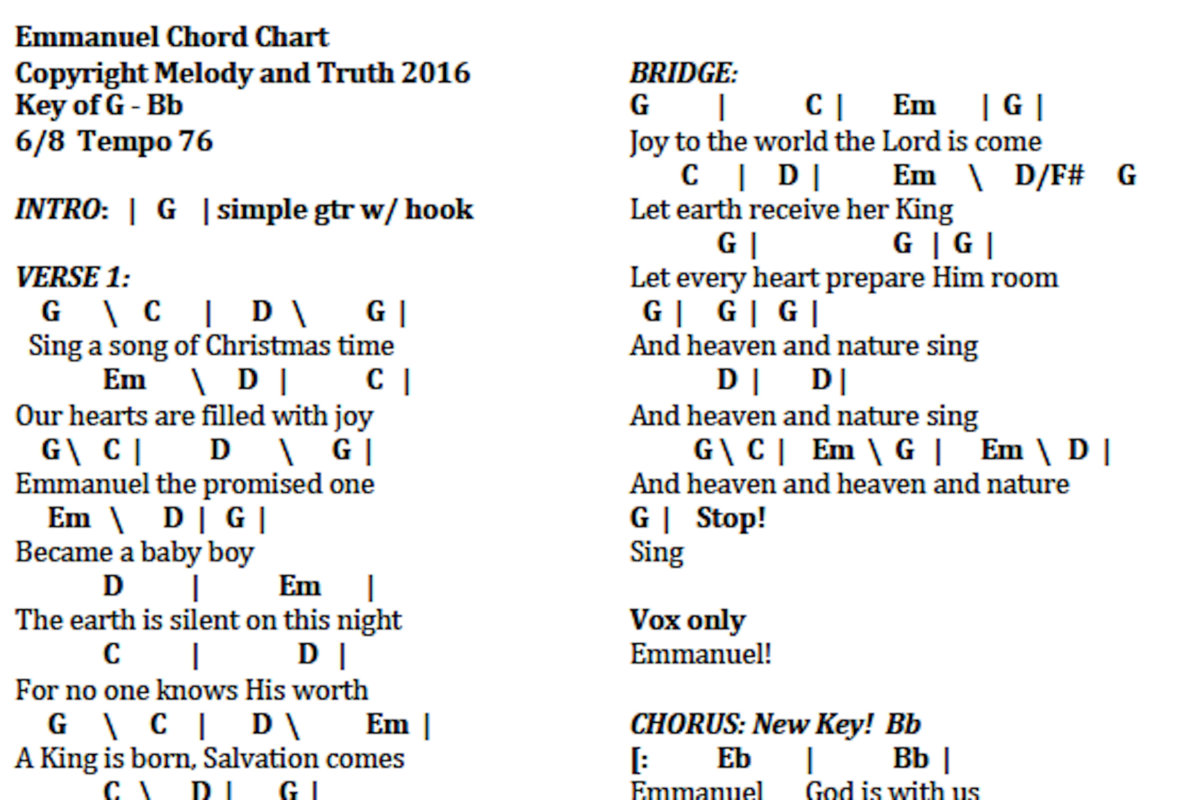 O holy night melody and truth included in this packet are chord charts for all songs except silent night and may it be youll receive an email with the link to download and print hexwebz Image collections