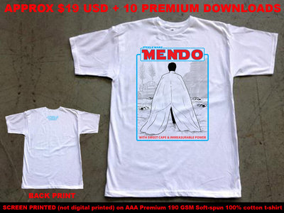 """Steele Wars """"MENDO"""" white t-shirt shipping from USA (approx $19 USD) main photo"""