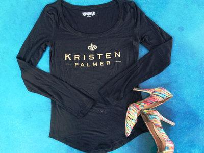 Kristen Palmer Long Sleeve Scoop Neck Women's Shirt- Gold and Black main photo