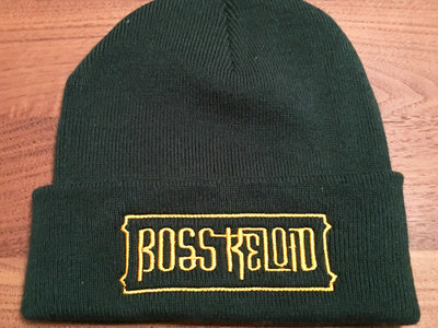 Knitted Beanie Hat - BOTTLE GREEN with Gold Logo main photo