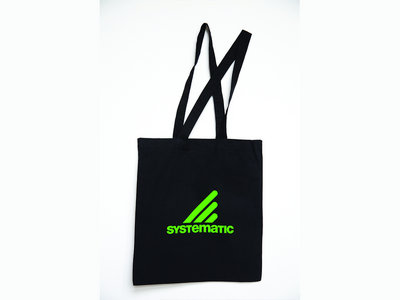 """Systematic"" Black Cotton Tote Bag, Neon-Green Print main photo"