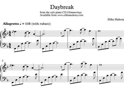 Sheet Music - Daybreak (Glimmerings) + music main photo