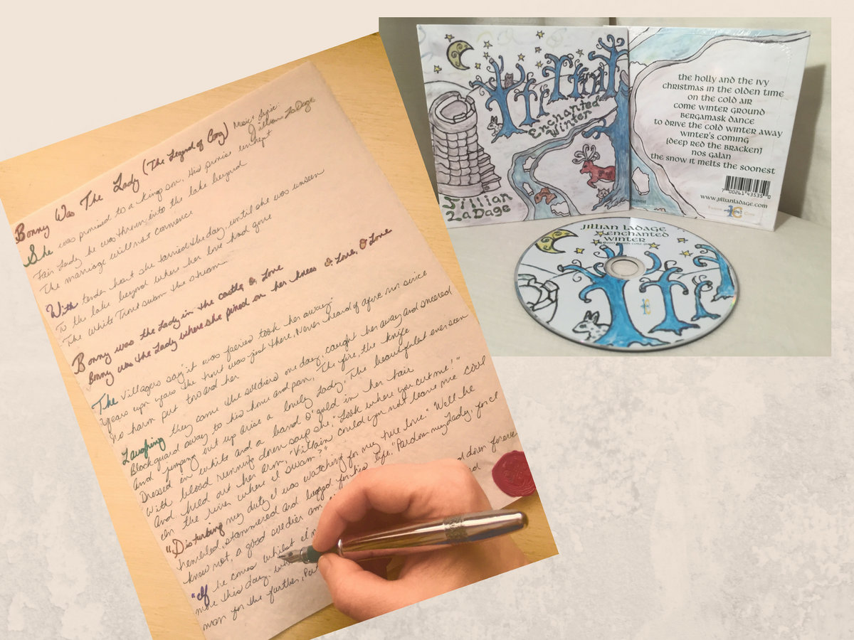 One Handwritten Lyric on Parchment Paper Medieval Style +