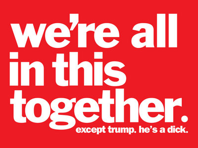 We're All In This Together. Except Trump. He's A Dick. STICKER BUNDLE main photo