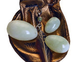 Jade Eggs set of 3 with soft leather weightlifting pouch. photo