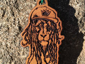 "J Ras ""Dread Lion"" Laser Engraved Premium Wood Pendant photo"
