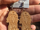 "J Ras ""Dread Lion"" Laser Engraved Wood Earrings photo"