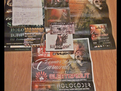 "Handwritten draft text ""Bestride Of God"" + 3 posters( 7\8(!!) Carnival Tour)+1 ticket(2009) + 4 CD and more! main photo"