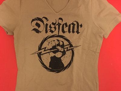 Fist Holding Lightning Bolt V-neck T-shirt Beige main photo