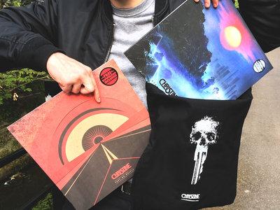 """PACK BAG FAN : Tote Bag + 2 colored vinyl 12"""" + poster main photo"""