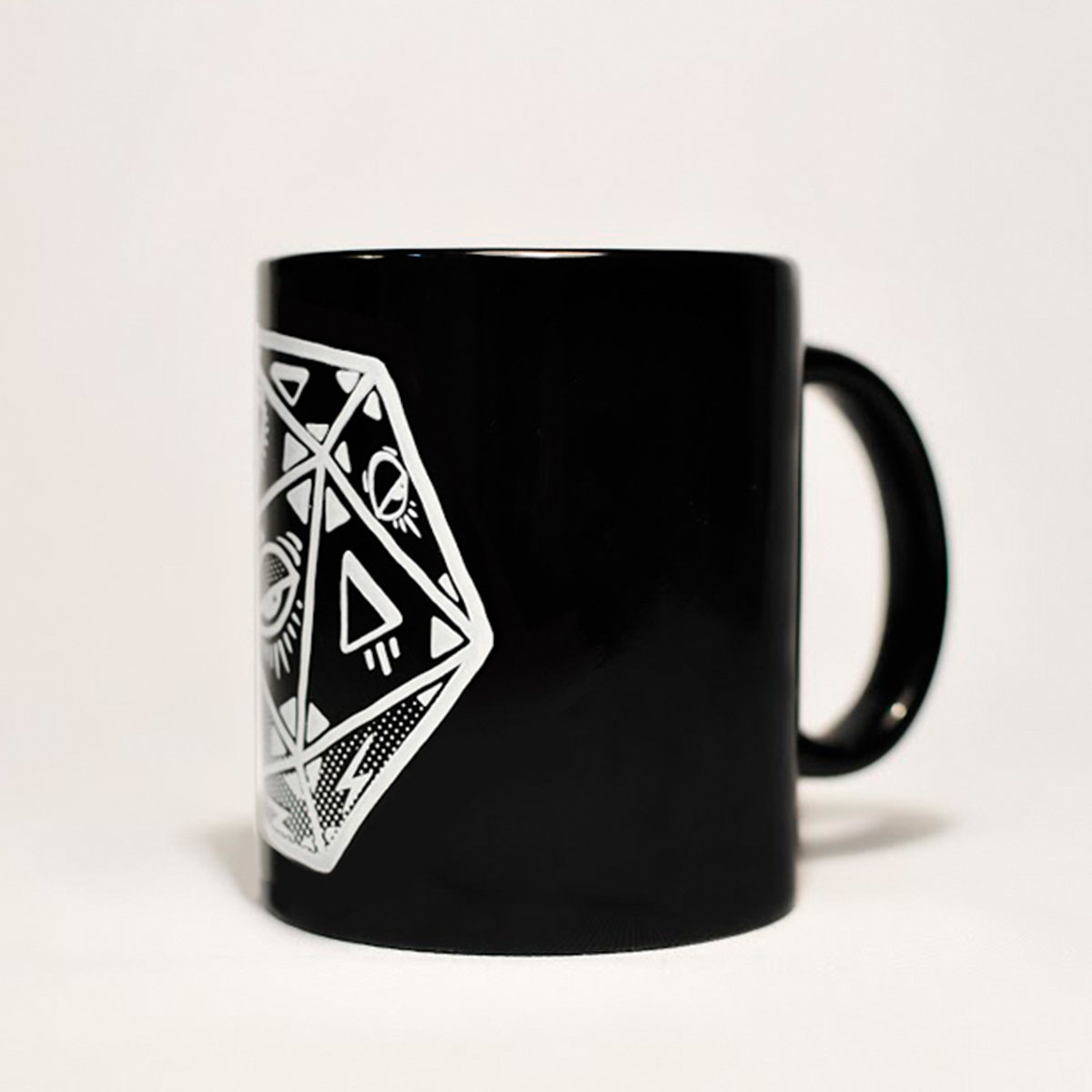 MUG / Black with white ink / Icosahedron | Animal de Galaxia