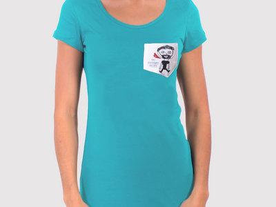 """T-Shirt """"Les Passages Secrets"""" Femme - Turquoise main photo"""